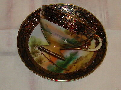 GORGEOUS NIPPON HAND PAINTED SCENIC/ GILT DESIGN CABINET CUP AND SAUCER.