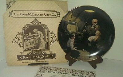 "Norman Rockwell Plate "" Grandpa's Treasure Chest "" Light Campaign 2nd in series"