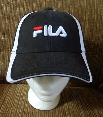 Fila Vintage Cap Embroidered Logo Flex Baseball Cap Black/White - New