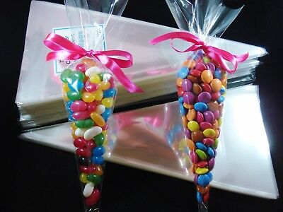 500 Clear Cello Cone Bags Lollies Party Favours Lolly Candy Favour FREE POSTAGE