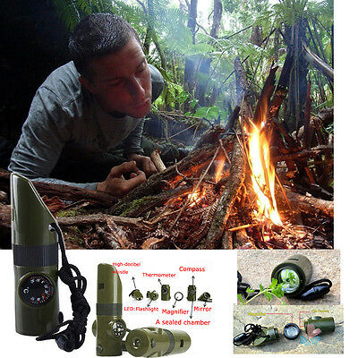 New 7 in 1 Outdoor Survival Whistle Compass Thermometer Flashlight Magnifier