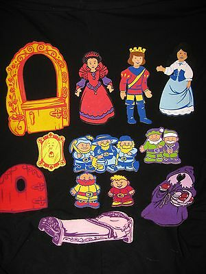 SNOW WHITE Princess Felt Doll Set Dwarves Prince Queen Story Telling Board Items