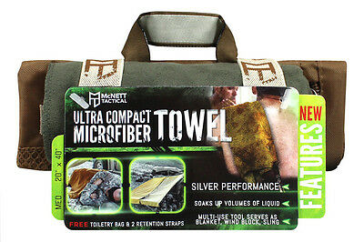 McNett Tactical Ultra Compact Microfiber Towel with Bag, Olive Drab