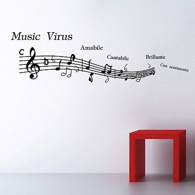 Music Note Pattern Graffiti Wall Home Decor Mural Decal Removable Vinyl Sticker