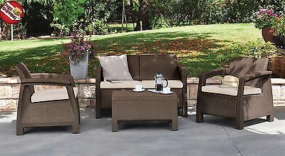 Conversation Set Outdoor Furniture Brown Love Seat Armchair Cushion Coffee Table