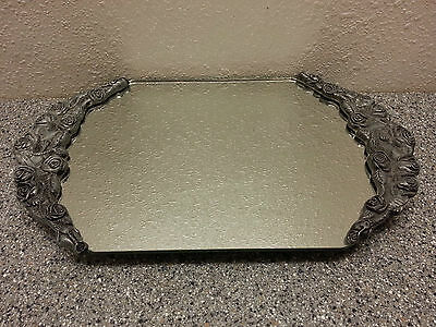 VINTAGE INTERNATIONAL SILVER PLATE VICTORIAN ORNATE FOOTED MIRROR VANITY TRAY