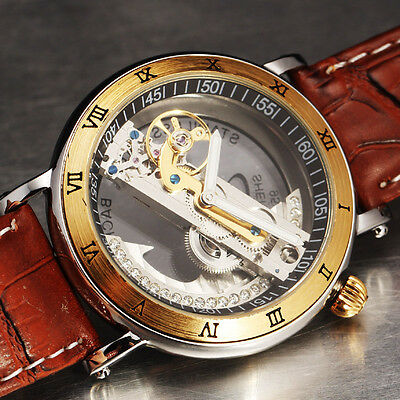 2014 NEW GOLDEN BRIDGE JELLY DIAL DESIGN Fashion Men Leather Mechanical Watch AA