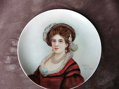 7 & 1/2 inch hand painted plate (victorian woman) by Grace Lathrop...signed