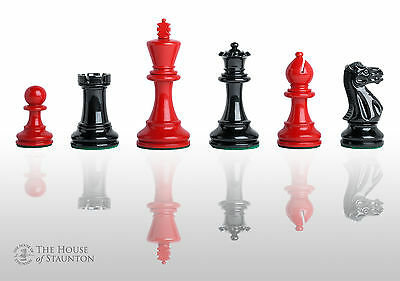 """The Grandmaster Regal Chess Set - Pieces Only - 4.0"""" King - Black & Red Lacquere"""