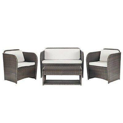 Outdoor Patio Rattan Conversation Set Sofa Wicker Deep Seating Couch Furniture