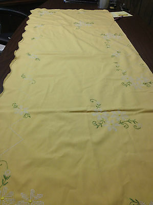 EMBROIDERED TABLE CLOTH YELLOW WITH WHITE GREEN EMBROIDERY LARGE RETANGLE