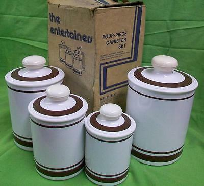 Vintage Aluminum Kromex Canister set,  White with Chocolate / Brown Stripes
