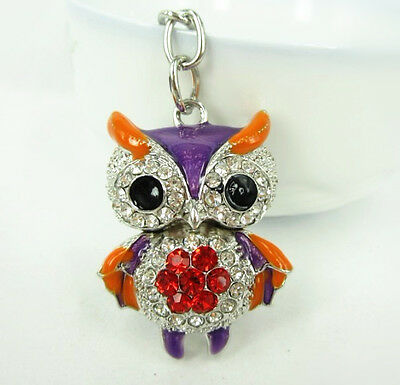 Owl Bird Lovely Fashion Cute Purse Bag Pendant Charm Crystal Keyring Chain Gift