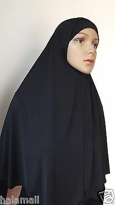 """Long"" One Piece Hijab Amira Muslima Hejab Headscarf Plain Color ( Black) , NEW"