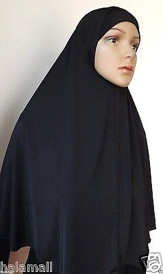 """Long"" two Pieces Hijab Amira Muslima Hejab Headscarf Plain Color ( Black) NEW"