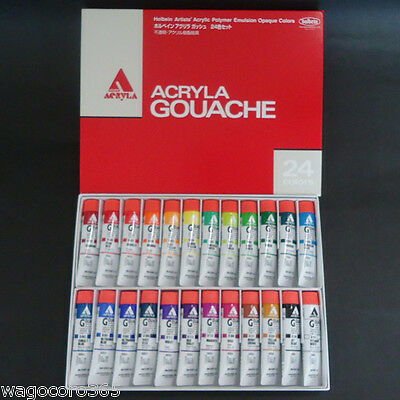 Holbein Acryla Gouache 24 Colors Set / Opaque Acrylic Paints / 20ml Tube Japan