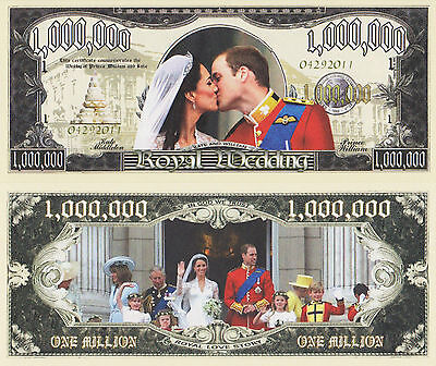 RARE: Royal Wedding $1,000,000 Novelty Note, Kat & Will,  Buy 5 Get one FREE