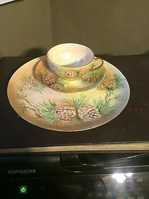 Holiday Handpainted germany Luncheon Tea Set NR mint Pinecones