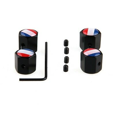 Black Universal Car Wheel Tyre Stem Air Cover Valve Anti-theft Caps France Flag