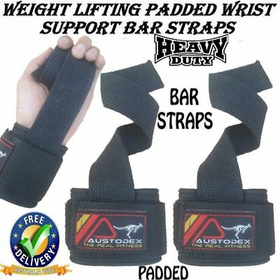 Weight Lifting Power Weightlifting Bodybuilding Gym Bar Wrist Straps wraps new