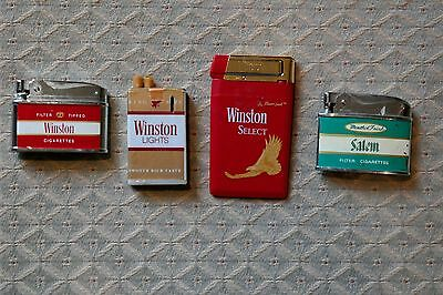 Cool Vintage Set of 4 Retro Cigarette Lighters ~ Winston Lighters