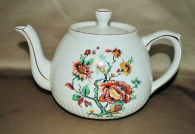 Ellgreave Ironstone Autumn Floral Daisy Gold Teapot - Made in England
