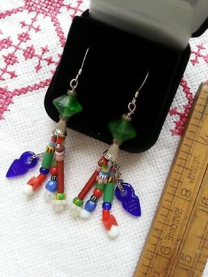Antique jazzy TASSEL EARRINGS uranium glass vtg  Africa Trade multi-colour .925