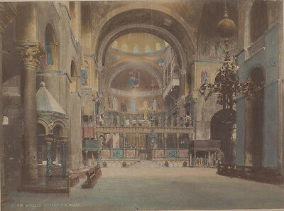 Hand Colored Photo Interior Of Cathedral Basilica Of Saint Mark - Venice, Italy