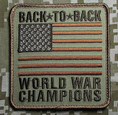 Back To Back World War Champions 2 Usa Xl Flag Us Army Desert Badge Morale Patch