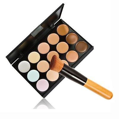 New 15 Colors Contour Face Cream Makeup Concealer Palette + Powder Brush