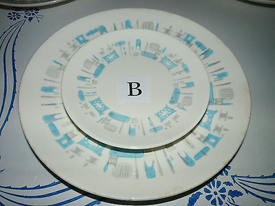 2pc lot B Vintage Royal China BLUE HEAVEN 1 Dinner 1 Bread Plate Blue Grey Retro