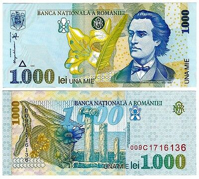 1998 Romania 1000 Lei Uncirculated Note