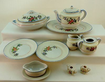 VINTAGE OCCUPIED JAPAN CHILDS TEA SET DISHES FLORAL 12 PIECES SOME ISSUES