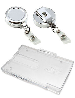 Heavy Duty Chrome Retractable Reel & Enclosed or Badge Buddy ID Card Holder lot
