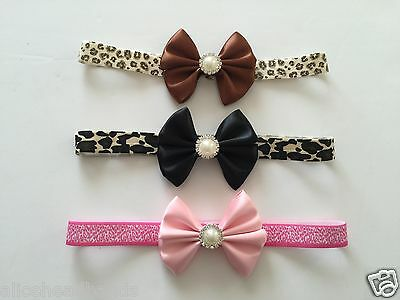 Satin Bow  Leopard Elastic Band Baby Girl Headbands  , Christening with Pearls