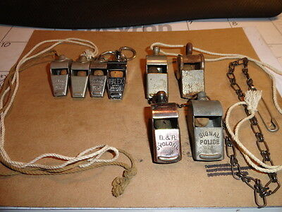8 Assorted Police Whistle's, Acme,Halex, B&R and others