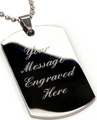 Men's dog tag pendant & necklace chain - Custom Engraved +  gift pouch