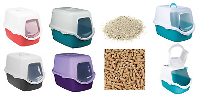 Trixie Vico Hooded Dome Cat Kitten Pet Litter Tray Box With Door Flap Panel