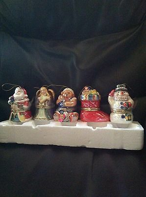 Mr. Christmas Porcelain Musical Ornaments Set Of 5 Wind Up with Gift Bags