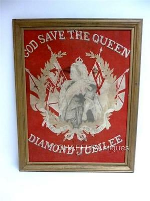 RARE Queen Victoria Diamond Jubilee Red Cloth Banner or Flag in Frame