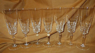 Crystal Champagne Flute Glasses Cristal D'Arques of France Sully pattern 7 6oz