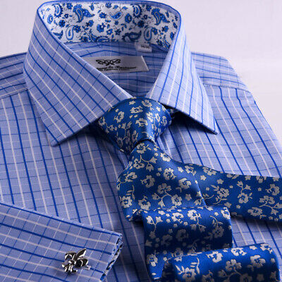 Mens Business Shirt Two Fold 2-Ply Cotton Blue Checkered Great Formal Dress Sale