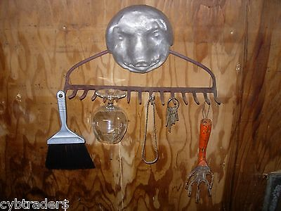 Vintage Metal Rake Pig Head Wine Glass Rack Garden Rustic Folk Art Steam Punk