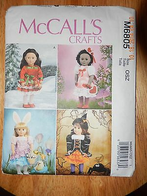"""McCall's Pattern M6805, Holiday Clothes and Accessories for 18"""" Dolls"""