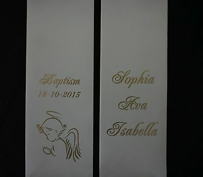 Personalised BAPTISM Christening Stole Sash ANGEL (1.5m length) Style 3
