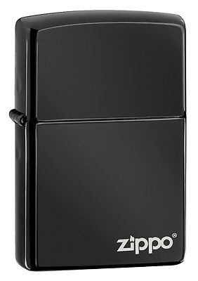 Zippo Ebony Windproof Lighter With Zippo Logo, # 24756ZL, New In Box