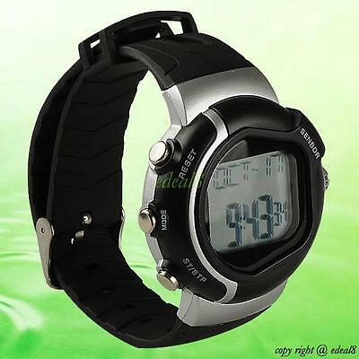 Calorie Counter Heart Rate Monitor Exercise Fitness Pulse Watch Black Dial Watch