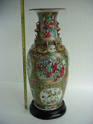 HUGE! 19th Century   CHINESE  CANTON Famille Verte VASE. Wonderful colors!