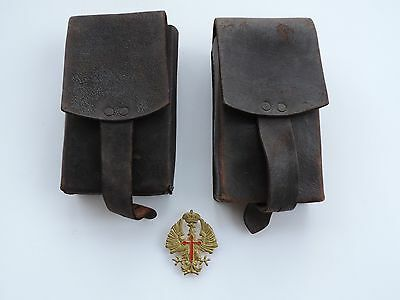 PRE WWII SPANISH CIVIL WAR LEATHER AMMO POUCHES WITH SPANISH EAGLE HAT INSIGNIA