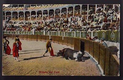 BULL FIGHTING RODEO Muerte del Toro Death of Bull Old Postcard PC